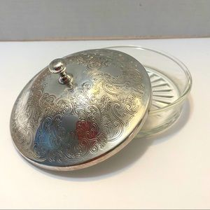 Vintage Silver plated lid glass loose powder